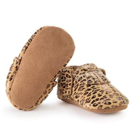 Leopard Genuine Leather Baby Moccasins