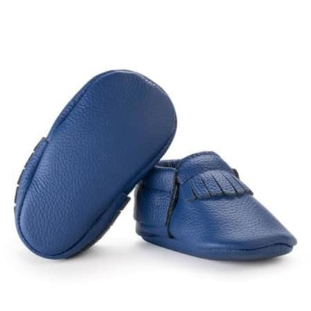 Royal Blue Genuine Leather Baby Moccasins