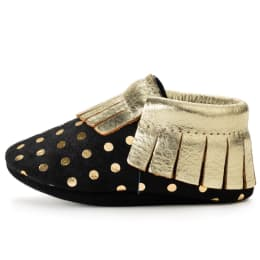 Black and Gold Genuine Leather Baby Moccasins