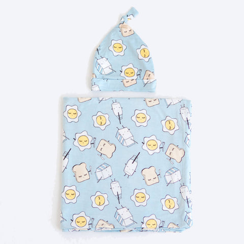 Little Sleepies - Blue Breakfast Buddies Bamboo Swaddle & Knotted Hat Gift Set