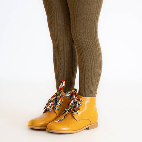Little Stocking Co. - Olive Cable Knit Tights