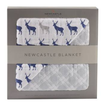 Blue Deer & Glacier Grey Plaid Newcastle Blanket