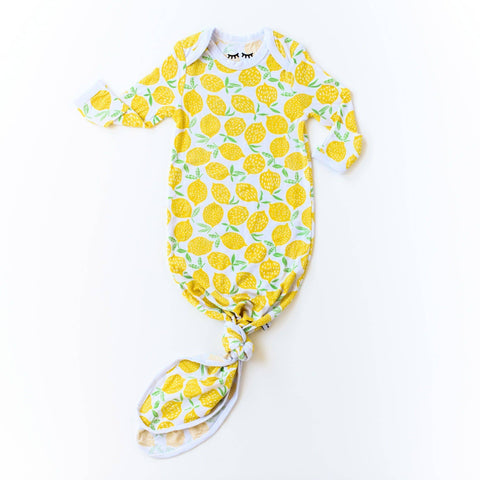Little Sleepies - Lemons Bamboo Infant Knotted Gown