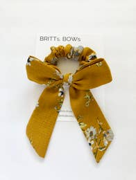 Mustard Floral Scrunchie with Bow