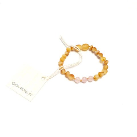 Raw Honey Amber + Rose Quartz Anklet