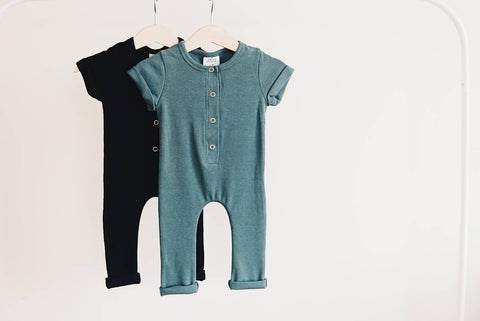 Orcas Lucille - Ribbed Henley Romper - Deep Sea