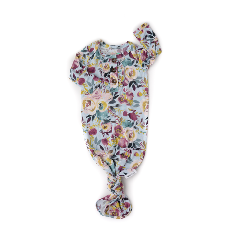 Gigi and Max - Annie Floral knotted Ruffle button newborn gown