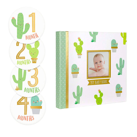 Pearhead - Baby Memory Book & Sticker Set, Cactus