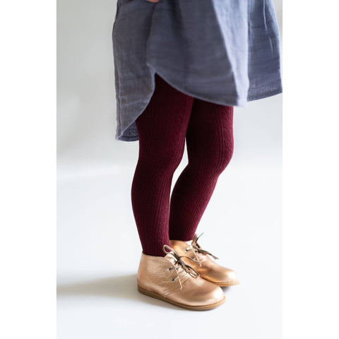 Little Stocking Co. - Wine Cable Knit Tights