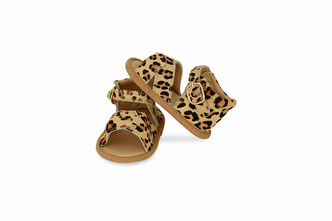 Babe Basics - Leopard Split-Soled Leather Baby Sandals