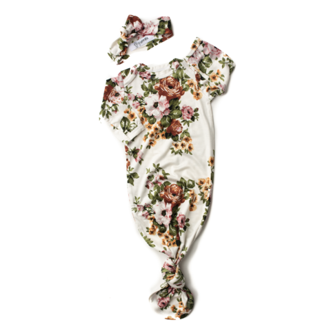 Charlotte Floral Knotted Button Gown and Headband