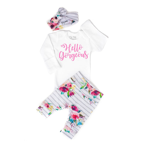 Hello Gorgeous watercolor newborn outfit