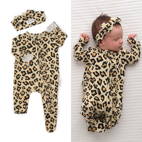 Gigi and Max - Gia Leopard newborn footed ruffle zip and headband