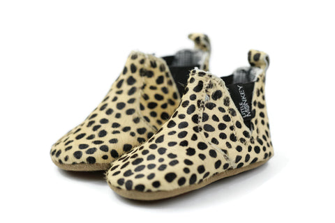 Funky Monkey Fashion - Pony Hair Leather Baby Booties - Cheetah