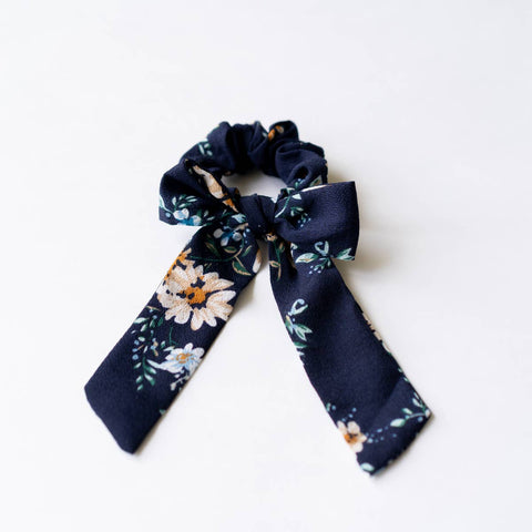 Navy Floral Scrunchie with Bow