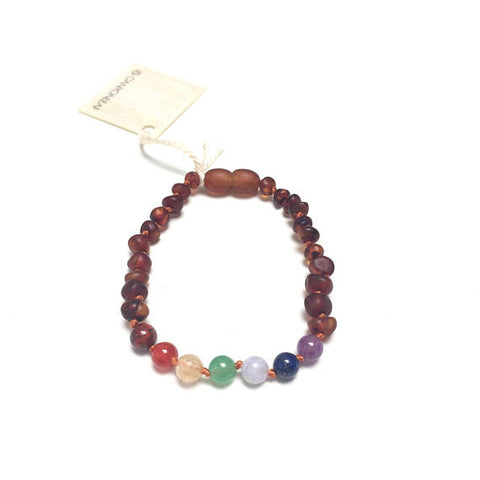 CanyonLeaf - Raw Amber + Chakra Crystals Anklet