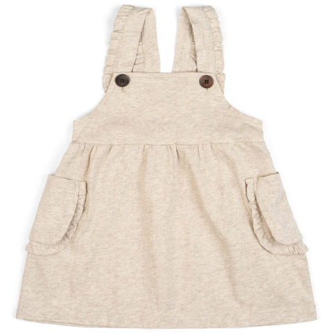 Organic Ruffle Dress Overall-Oatmeal