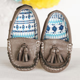 Funky Monkey Fashion - Toddler Leather Moccasins - Gray-Fiti
