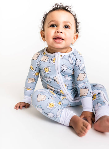 Little Sleepies - Blue Breakfast Buddies - convertible romper/sleeper