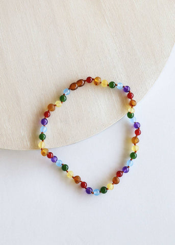 CanyonLeaf - Kids: Raw Amber + Gemstone Rainbow Necklace