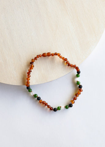 CanyonLeaf - Kids: Raw Cognac Amber || Lava + Jade + Agate || Necklace