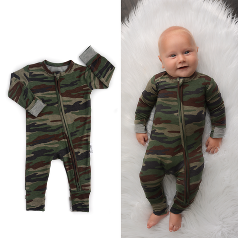 Gigi and Max - 5 pack Camo zip one piece 3m 6m, 9m 12m, 18m