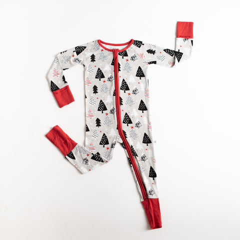 Little Sleepies - Christmas Trees bamboo viscose convertible romper/sleeper