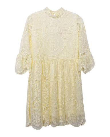 Clara Lace Bell Sleeve Dress-Ivory