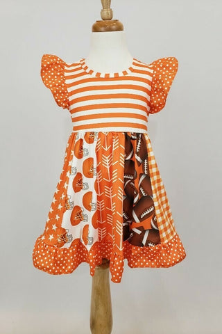 Orange and White Football Dress