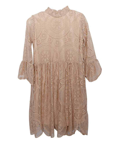 Clara Lace Bell Sleeve Dress-Champagne