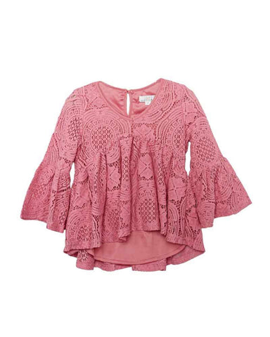 Charly Lace Bell Sleeve Top-Mauve