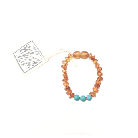 CanyonLeaf - Kids: Raw Honey Amber + Turquoise Howlite Anklet or Bracelet