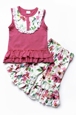 Pink Tank/Floral Ruffle Pants (Outfit)