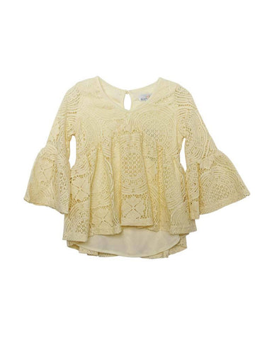Charly Lace Bell Sleeve Top-Ivory