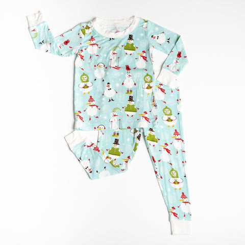Little Sleepies - Snowman bamboo viscose two-piece pajama set