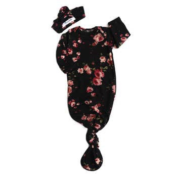 Stella Floral Knotted Button Gown and Headband