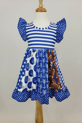 Blue and White Football Dress