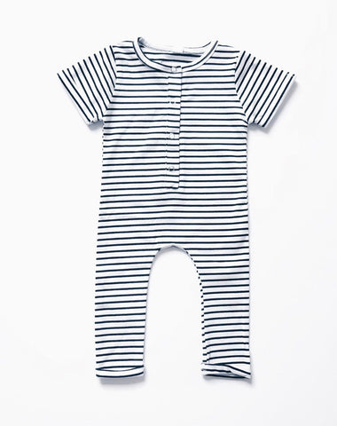 Orcas Lucille - Ribbed Henley Romper - B&W Stripe