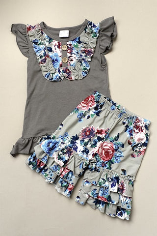 Gray Tank/Floral Ruffle Pants (Outfit)