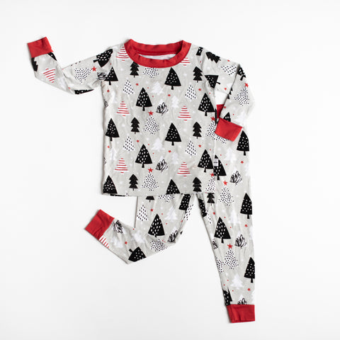 Little Sleepies - Christmas Trees bamboo viscose two-piece pajama set
