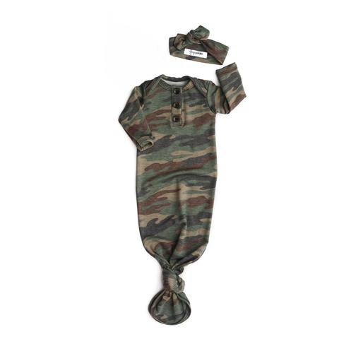 Camo Knotted Button Gown and Headband