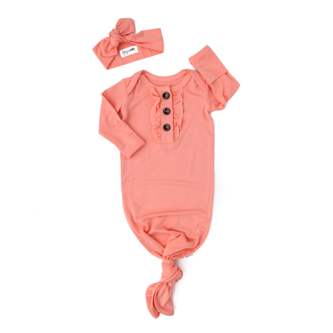 Mila Peach Knotted Ruffle Button Gown and Headband Set
