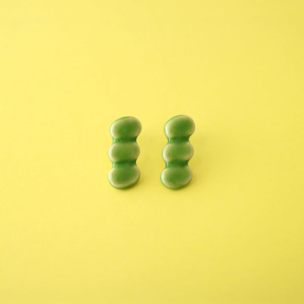 M.N Bean3 Earrings / Green / 14KGF