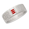 R22 – Sterling Silver Frosted Forever Love Band w/ Enamel – Unisex