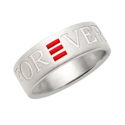 R25 – Sterling Silver Frosted Forever Love Band w/ Enamel – Unisex
