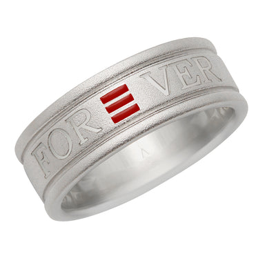 R20 – Sterling Silver Frosted Forever Love Band w/ Enamel – Unisex