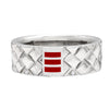 R13 – Men's Contemporary Weave Pattern Sterling Silver Band w/ Diamonds