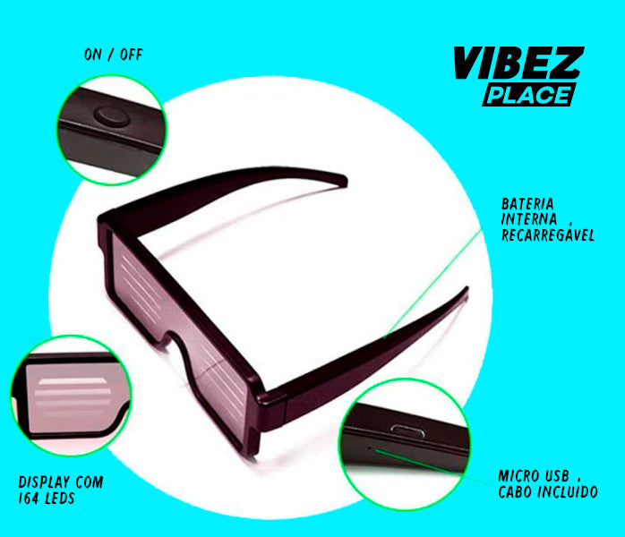 Óculos Flash LED 8 Vibez Place