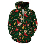 Allover Print Christmas Hoodie - Holiday Ornaments | Christmas Apparel | All For Xmas
