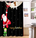 Christmas Waterproof Bath Curtains | Bathroom Decor | All For Xmas